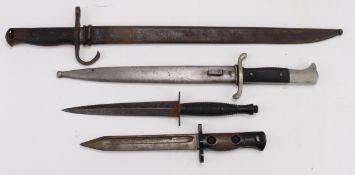 Edged weapons - 1) Arisaka model 1897 sword bayonet in its steel scabbard (locking stud missing)