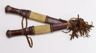 Africa Tribal knives, a nice pair of matching knives in ornate leather scabbards, blades approx