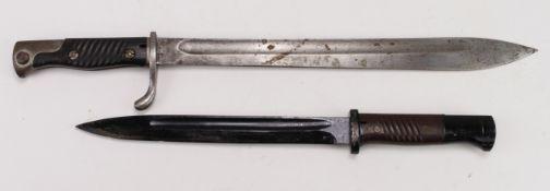 German bayonets without scabbards, 1) WW1 Butcher Bayonet 1916 by Simson & Co Suhl Co. 2) WW2 Nazi