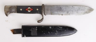 German Nazi Hitler Youth dagger with scabbard. Leather strap missing. Blade maker marked 'Puma