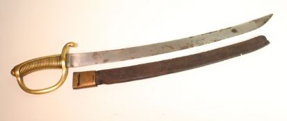 French Briquette Hanger Shortsword, ribbed all brass hilt with stirrup guard. Crossguard dated '