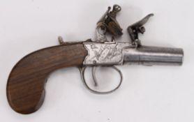 Flintlock boxlock pocket pistol by Edward Weston of Lewes, Sussex. Approx .44 Cal. Turn off barrel