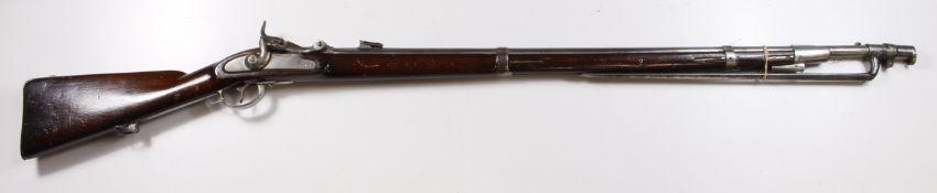 Austrian Wanzl Service Rifle with Bayonet, 13.9mm breech loading rifle model 1854/67. 1867 stopgap