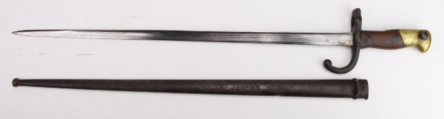 French Epee Bayonet dated 1876, with metal scabbard