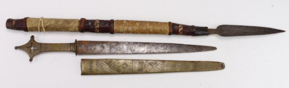 Africa items, a short Assegai type short stabbing Spear with leather grip in good condition. All