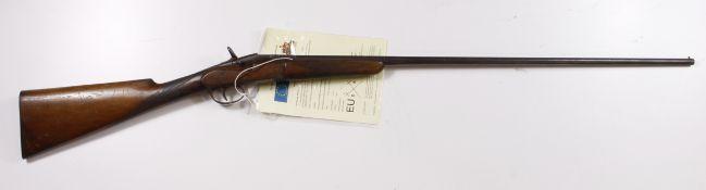 """Belgian Shotgun """"Flobert"""" 9mm garden gun, SN 2271. Worn overall with surface rust. Barrel 30""""."""