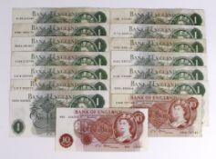 Bank of England (15), Fforde, Hollom & O'Brien a range of 10 Shillings and 1 Pound notes including