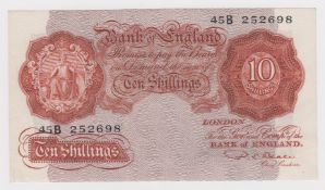 Beale 10 Shillings issued 1950, scarce LAST SERIES note, serial 45B 252698 (B265, Pick368b) dents in