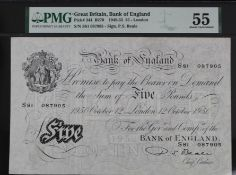 Beale 5 Pounds dated 12th October 1950, serial S81 087905 (B270, Pick344) in PMG holder graded 55