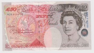 Bailey 50 Pounds issued 2006, serial M25 016008 (B404, Pick393a) good EF