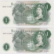 Fforde 1 Pound (2) issued 1967, a consecutively numbered pair of FIRST SERIES notes, serial B38Y