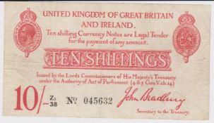Bradbury 10 Shillings issued 1915, LAST SERIES prefix 'Z1', serial Z1/38 045632 (T13.2, Pick348a)