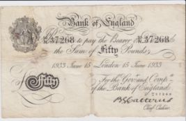 Catterns BERNHARD note, 50 Pounds dated 15th June 1933, serial 50/N 37268 (B231 for type) holes/