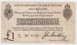 Bradbury 1 Pound issued 23rd October 1914, serial E1/36 41963 (T11.2, Pick349a) a few pinholes, rust