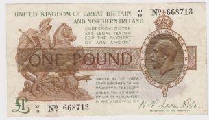 Warren Fisher 1 Pound issued 1927, rare LAST SERIES, Great Britain & Northern Ireland issue,