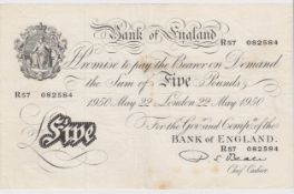 Beale 5 Pounds dated 22nd May 1950, serial R57 082584 (B270, Pick344) some dirt/stains, about VF