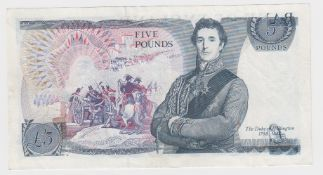 ERROR Page 5 Pounds issued 1973, minor overprint partial front on back, serial 56J 210353 (B334,