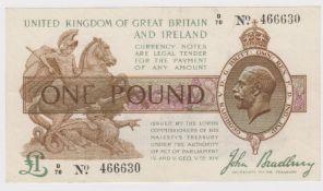 Bradbury 1 Pound issued 1917, serial D/70 466630 (T16, Pick351) good VF