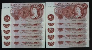 Fforde 10 Shillings (10) issued 1967, a consecutively numbered run of LAST SERIES notes with '01'