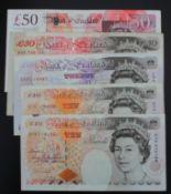 Bank of England (5), Kentfield 50 Pounds, 10 Pounds (2), Salmon 50 Pounds, Gill 20 Pounds, mixed