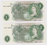 ERROR Page 1 Pound (2) issued 1970, a very scarce pair of IDENTICAL mismatched serial numbers, top