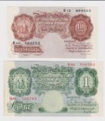 Catterns (2), 1 Pound issued 1930 serial U65 706762 (B225, Pick363b), 10 Shillings issued 1930