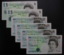 Bank of England (6), Bailey 5 Pounds (2) issued 2012, a consecutively numbered pair, serial
