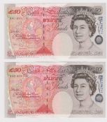 Bailey 50 Pounds (2) issued 2006, serial R41 253774 and R42 304744 (B404, Pick393a) good EF