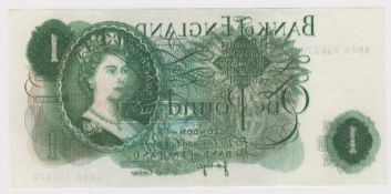 ERROR Page 1 Pound issued 1970, an exceptional major front on back overprint on a FIRST SERIES note,