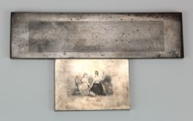 Printers Plate (2), engraved steel printers plates, one showing large ornate pattern with Perkins,