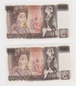 ERROR Page 10 Pounds (2) issued 1975, a consecutively numbered pair of overprint errors, major