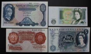 Bank of England (4), Beale 10 Shillings (B266) good EF, O'Brien 5 Pounds (B277) about EF, Hollom 5