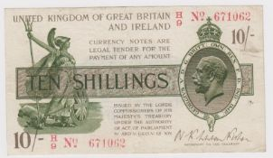 Warren Fisher 10 Shillings issued 1919, LAST SERIES serial H/9 671062, No. with dash (T26,