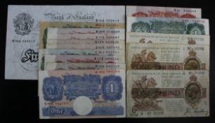Bank of England & Treasury (15), Bradbury 1 Pound T16 (2) issued 1917, Warren Fisher 1 Pound T24