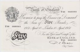 Beale 5 Pounds dated 10th April 1951, serial U35 066093, a consecutively numbered note to the