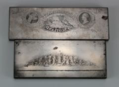 Printers Plate (2), engraved steel Perkins & Heath printers plates, one showing Commercial Bank of