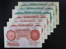 Catterns (7) issued 1930, 10 Shillings (4) prefixes N11, O06, O81 and R14(B223, Pick362b), 1
