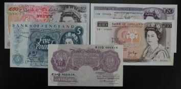 Bank of England (5), Kentfield 50 Pounds (B377) EF, Page 20 Pounds (B328) about EF, 10 Pounds (B330)