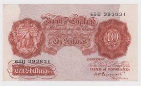 ERROR Peppiatt 10 Shillings issued 1934, minor misplaced design on obverse and reverse, design