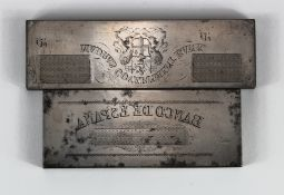 Printers Plate (2), engraved steel printers plates, Madras Government Bank (1806 - 1843) showing