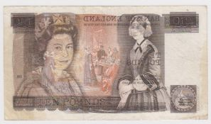 ERROR Page 10 Pounds issued 1975, major overprint front on back of a FIRST SERIES note, serial A40