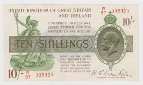Warren Fisher 10 Shillings issued 1922, serial R/97 558425 (T30, Pick358) lightly pressed, good VF
