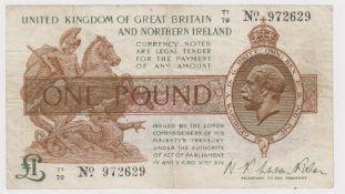 Warren Fisher 1 Pound issued 25th July 1927, rarer Great Britain & Northern Ireland issue, serial