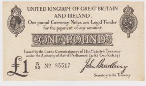 Bradbury 1 Pound issued 23rd October 1914, serial G/52 85517 (T11.1, Pick349a) nice crisp EF