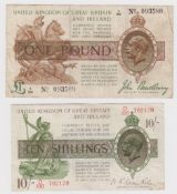 Treasury (2) a pair of notes both with hard to find HIGHEST '100' prefixes, Bradbury 1 Pound