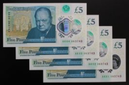 Cleland 5 Pounds (4) a set with consecutive prefix numbers and the SAME SERIAL number, serial