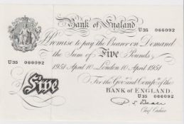 Beale 5 Pounds dated 10th April 1951, serial U35 066092, a consecutively numbered note to the