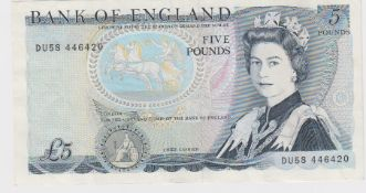 ERROR Somerset 5 Pounds issued 1980, error missing signature, serial DU58 445420 (B343a, Pick378d)