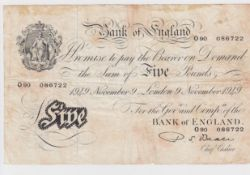 Bank of England (3), Beale 5 Pounds dated 9th November 1949 serial O90 086722 (B270), Mahon 10