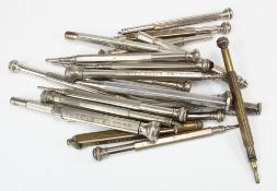 Advertising Pencils. A collection of twenty silver plated propelling advertising pencils,